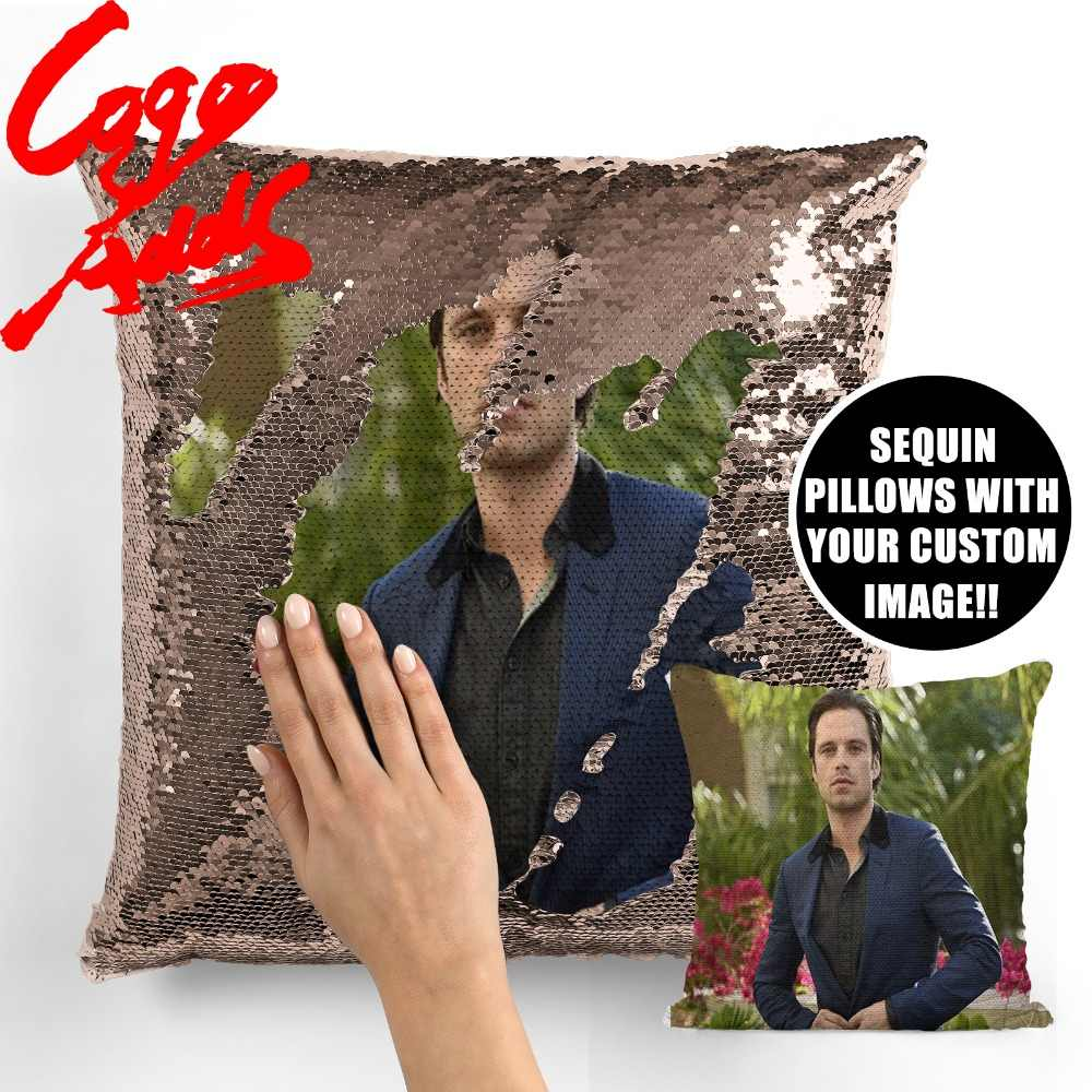 sebastian stan wedding birthday party photo sequin cushion cover custom image reversible sequin mermaid pillowcase