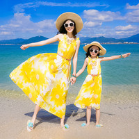 2018 été parent-enfant porter mère et fille vêtements beach resort plage filles robe loisirs voyage en mousseline de soie Femmes Robes