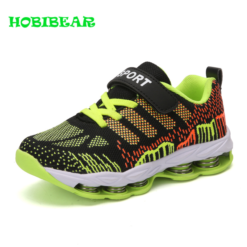 best sneakers 74eef 41314 US $21.62 44% OFF|Children Boys Running Shoes Green Blue Kids Walking Shoes  Cushioning Boys Trainers Sneakers Fly Wire Breathable School Shoes-in ...