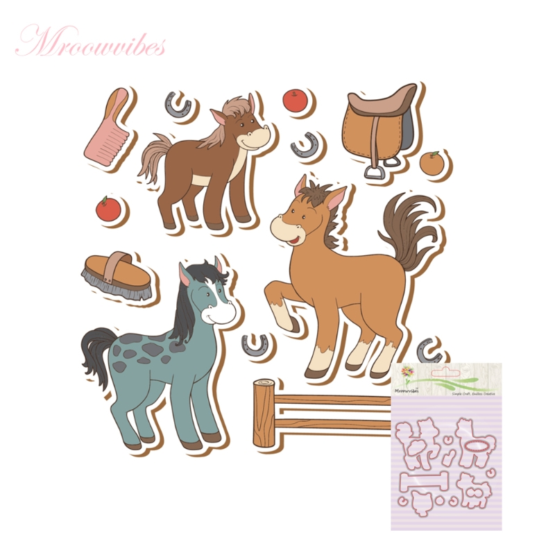 New Clear Stamps Horse Silicone Clear Stamp+Metal Cutting Dies Stencil Frame For DIY Scrapbook Album Decor pig silicone clear stamp metal cutting dies stencil frame scrapbook album decor clear stamps scrapbooking accessories