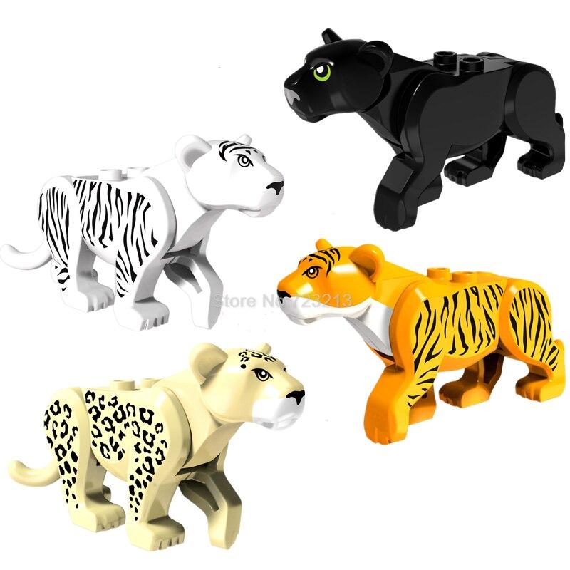 Тигр Пантера Leopard одной продажи jungle Adventure серии строительный Конструкторы комплект Модель Кирпичи Игрушечные лошадки для детей