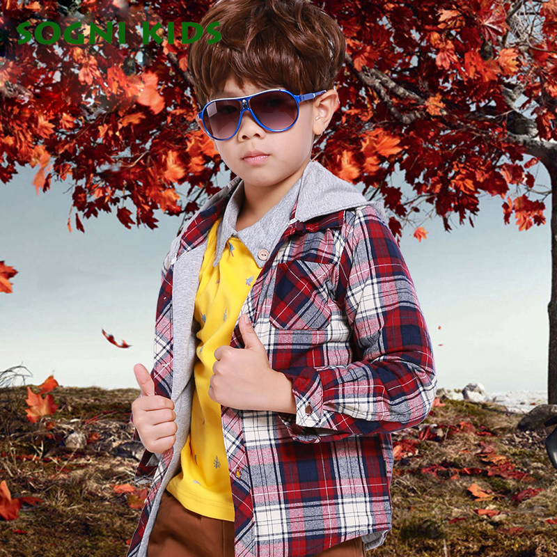 baby boys jackets and coats 2016 autumn child Patchwork hooded Plaid cardigan outerwear Long sleeves lattice