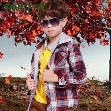Мальчиков куртки и пальто 2016 осень ребенок Лоскутное с капюшоном Плед кардиган верхняя одежда С Длинными рукавами решетки дети мальчик рубашка топы