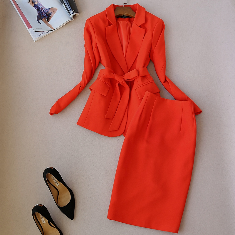 Nouvelle mode femmes jupe costumes ensemble entreprise formelle à manches longues blazer et jupe bureau dames grande taille travail uniformes OL 2 pièces