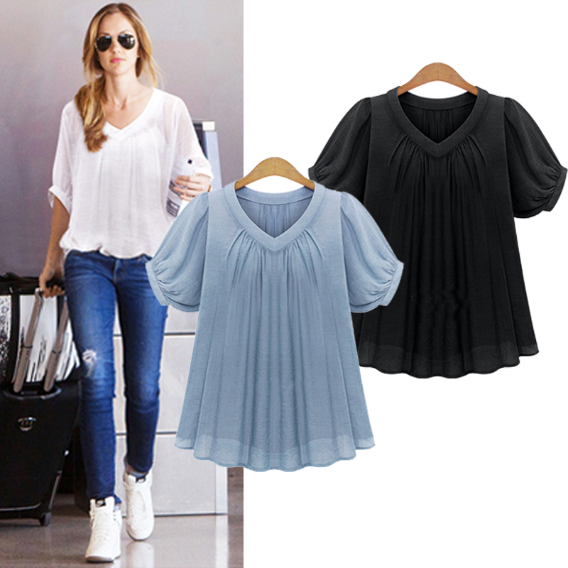 AREALNA Summer Fashion shirt women tops Short Sleeves Pleat Chiffon Blouse Loose Women Blouses Plus Size XL-5XL blusas femininas