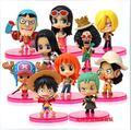 10 unids/set Japanese Anime Cartoon One Piece Luffy Sanji Zoro PVC juguetes figura navidad regalos para niños envío gratis