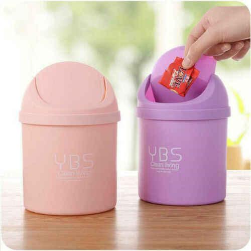 Mini Desktop Lixo Pode Limpar os Resíduos Domésticos Com Caixas de Mesa Tampa De Plástico Pequena Oficina Cesta Requintado