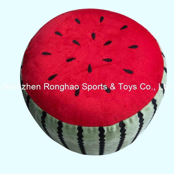 Фотография free shipping inflatable stool thicken pvc cotton cover cartoon plush air pouf chair lovely pneumatic stools portable watermelon