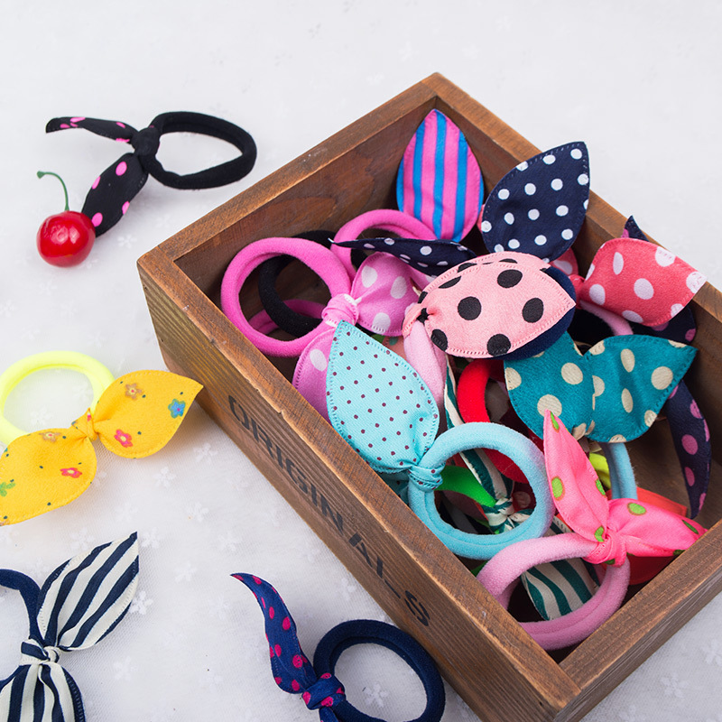 10PCS New Girls Headwear Mix Styles Bow Dot Elastic Hair Bands Rabbit  Ears Hair Accessories Ponytail Holder Rubber Bands Ropes