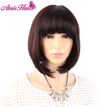 Amir Hair Synthetic Wigs Full Bang Straight Short Wigs for Black Women  Synthetic Wigs perruque Cosplay