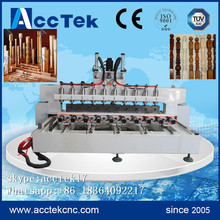 Jinan AccTek 1325 multi-head wood engraving machine, 10 rotary axis for cnc