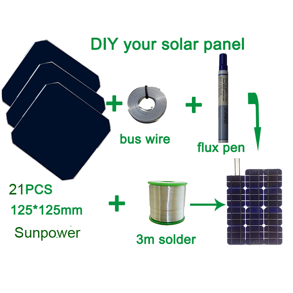 BOGUANG 75W DIY your flexible solar panel kits with 125*125mm efficient solar cell use flux pen+tab wire+bus wire experiments