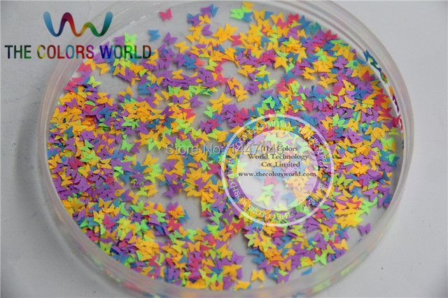 FN3-44 Mix Neon Colors Solvent Resistant  Butterfly  Shape Glitter  for nail art polish and DIY decoration   1pack=50g