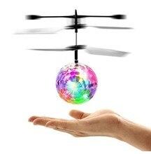 Красочные мини Drone сверкающих светодиодный Радиоуправляемый Дрон вертолет, летающий мяч свет хрустальный шар индукции Дрон Quadcopter самолета Детские игрушки