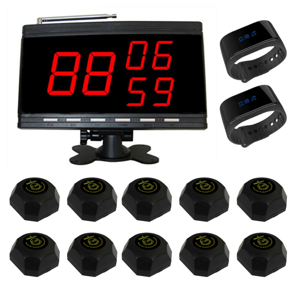 SINGCALL Table Waiter Call Paging System for Customer Service,Pack of 10 Bells and 2 Watch Receivers and 1 Display. coffee shop service restaurant waiter buzzer table call button guest paging system 20 bell with 2 receivers