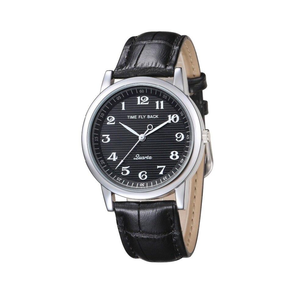 2018 Herenhorloge uurwerk Vintage Quartz Waterproof tegen de klok in Horloge van studiowekker Zwarte wijzerplaat Lederen band