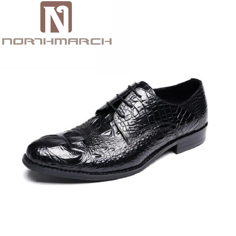 NORTHMARCH Men Shoes Luxury Brand Designer Crocodile Shoes Men Genuine Leather Formal Wedding Dress Oxfords Derby Flats Shoes 38mm om36 cylinder kit fits efco oleo mac om emak 436 sparta 36 37 om38 trimmer zylinder w piston ring pin clips assembly