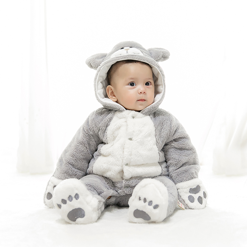 mikistory 2018 Hot Baby Thick Cartoon Cat Jumpsuits Hooded Warm Bebe Rompers Newborn Girls Clothes Cotton Infant Boys Jumpsuit