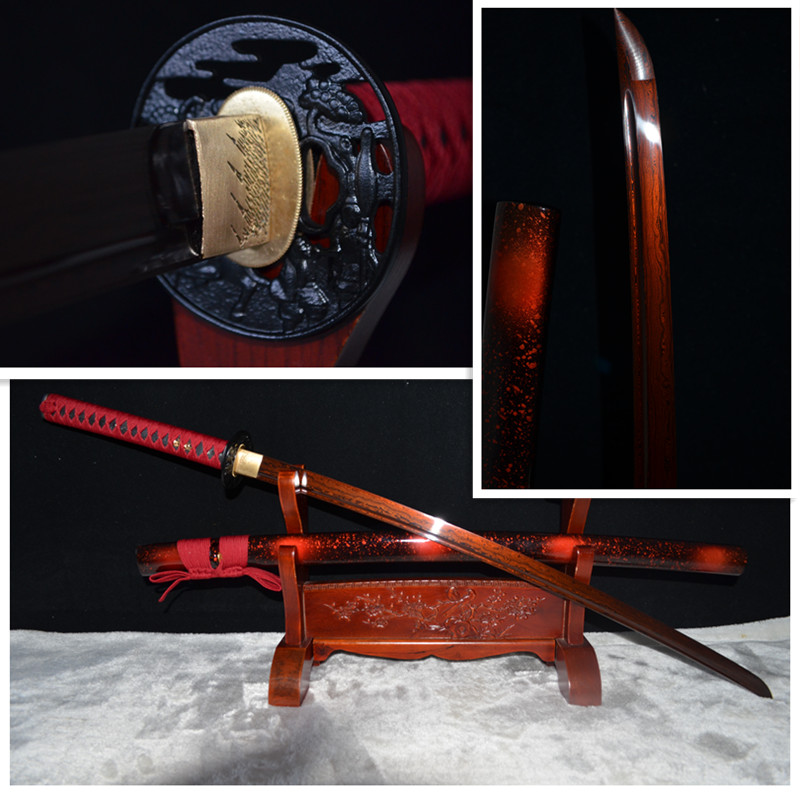 Top Iron Tsuba Handmade Japanese Samurai Katana Sword Damascus Folded Steel Red Blade Sharp Can Cut Bamboo