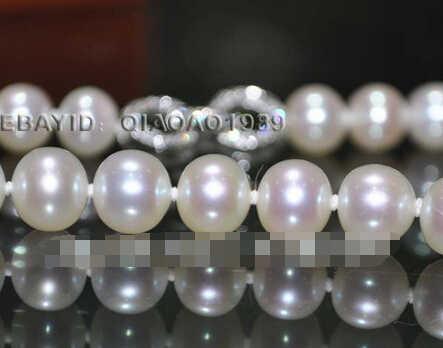 +++++++ Ekspresowe Oszałamiająca 8-8.5mm okrągły słodkowodne naszyjnik z pereł