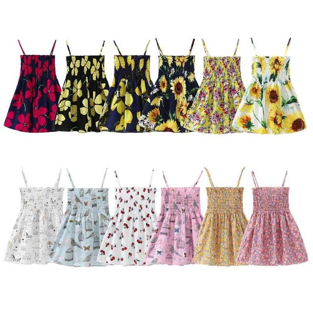 e16955748c140 Aliexpress.com : Buy Baby Girl Clothes Casual Sleeveless Sweet Summer  Sunflower Print Wrap Chest Spaghetti Strap Backless Dress Kids Dresses 3 7T  from ...
