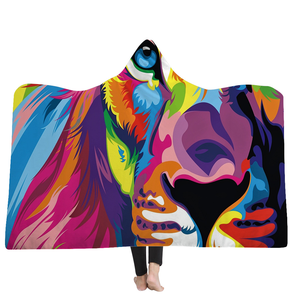 3D digital printing Hand painted animal Hooded Blanket Cashmere Blanket Children Thicken Cobertor Magic Hat Cloak Throw Blanket in Blankets from Home Garden