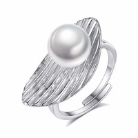 High Quality 925 Sterling Silver Pearls Rings New Fashion Jewelry Vintage Adjustable Ring Gift For Female