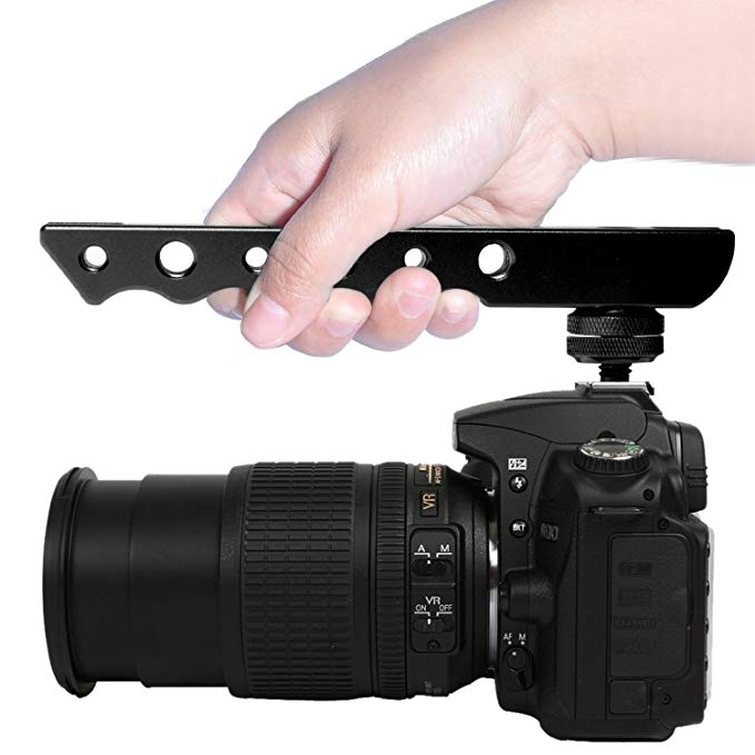 Fomito Hand held Shooting Handle Cold Shoe Extender Video Stabilizing Aluminum for Canon EOS Nikon DSLR Camera etc in Photo Studio Accessories from Consumer Electronics
