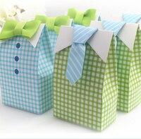 Romantique Boîte de Faveur Décoration Bleu Vert Bébé Douche Amant Partie Doux Emballage Cadeaux De Mariage Et Faveurs Sac Boîte Pour Les Invités
