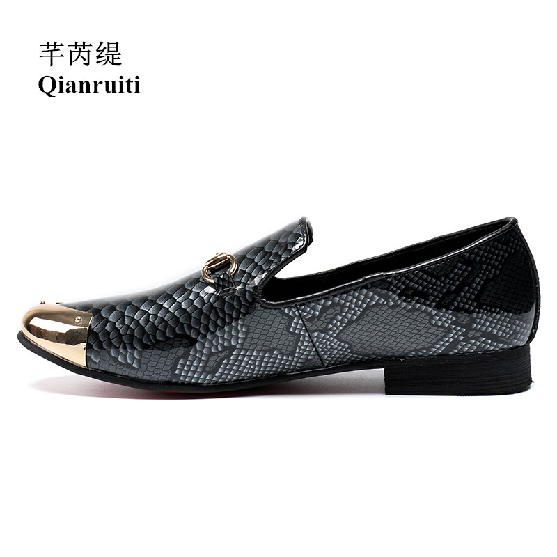 Qianruiti Men Patent Leather Shoes Slip-on Loafers Gold Metal Toe Snakeskin Printing Flats EU39-EU46 Royal Blue and Grey qianruiti men alligator gold loafers metal toe business wedding oxfords high quality lace up slippers men dress shoe eu39 eu46
