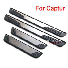 цена на For Renault Captur 2018 2017 Steel Door Sill Plate Door Scuff Cover Kick Step Trim Protector Molding