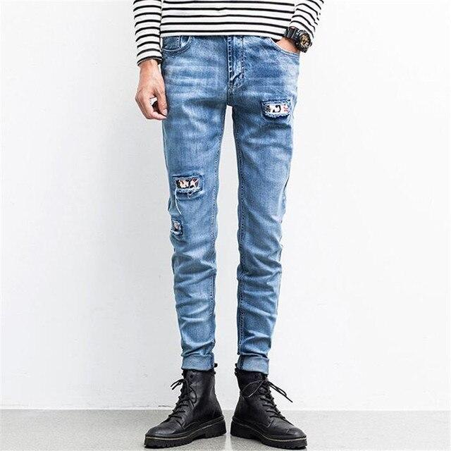 Nouveau mode bleu clair couture jeans mâle, Casual Denim Jeans Slim Gros  Jeans hommes pantalon