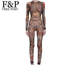 09e4dbb63831 Summer Women Skull Tribal Tattoo Print Mesh Jumpsuit Curvy African Runway  Sheer Bodysuit Celebrity Catsuit Tracksuit Jumpsuit