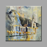 Abstract Scenery Oil Painting Castle Building Canvas Art Vintage Home Decor Painting On The Wall Decorative