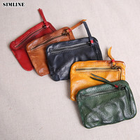 SIMLINE Genuine Cow Leather Coin Purse Women Vintage Handmade Small Mini Wallet Card Holder Bag Case Zipper Change Purses Female