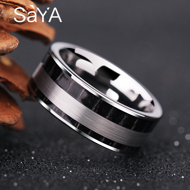 купить New Arrival 8mm Width High Polished Tungsten Wedding Rings for Man Inlay Black Wood and Brushed Finishing Comfort Fit Band 7-11 по цене 2515.23 рублей