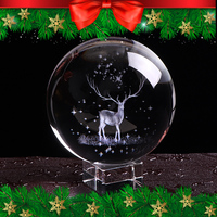 80mm Crystal Wapiti Ball Miniature 3D Laser Engraved Glass Christmas Balls Ornament Christmas Decorations for Home New Year Gift