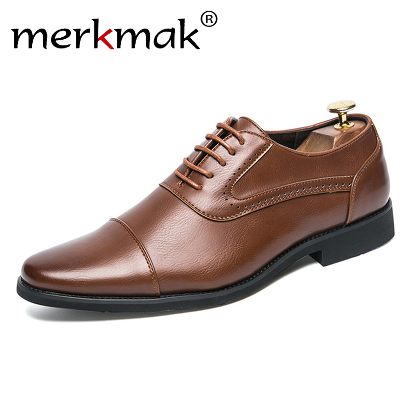 Merkmak 2018 Men Dress Brogue Shoes Luxury Brand Genuine Leather Formal Flats Breathable Gentlemen Oxford Lace Up Wedding Shoes italians gentlemen пиджак