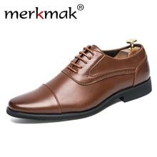 Merkmak 2018 Men Dress Brogue Shoes Luxury Brand Genuine Leather Formal Flats Breathable Gentlemen Oxford Lace Up Wedding Shoes