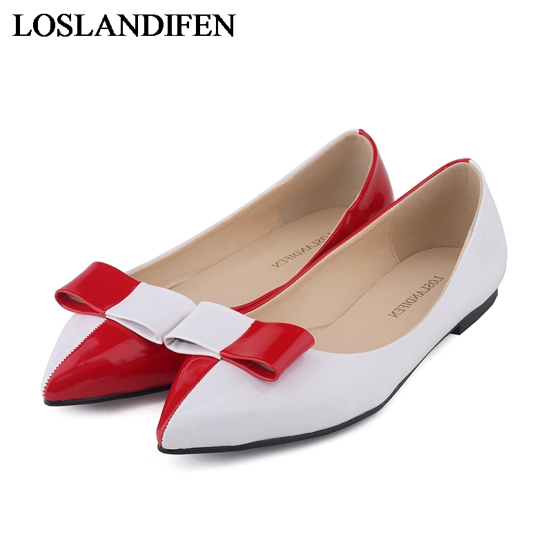 2018 New Women's Pointed Toe Head Bowtie Pathwork Low Flats Shoes Cute Working Casual Slip-on Spring Autumn Shoes  NLK-B0050 pu pointed toe flats with eyelet strap