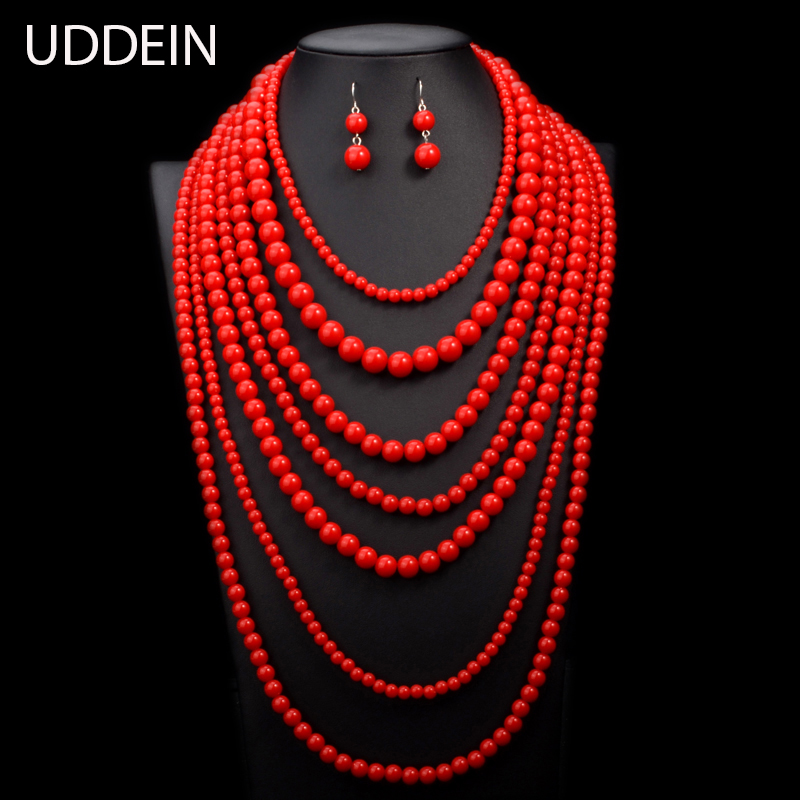 UDDEIN Nigerian Wedding Indian Jewelry Sets Multi layer Pearl Jewelry Long Statement Necklace Women African Beads Jewelry Sets red color african beads jewelry sets two layer beads indian jewelry sets luxury statement choker necklace fashion jewellery