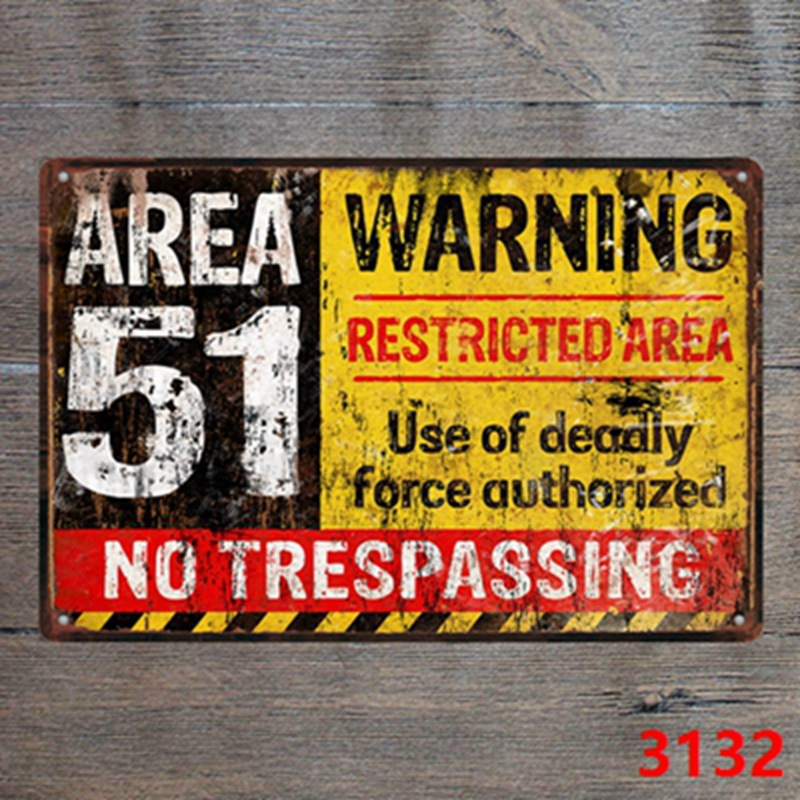 metal sign plaque vintage retro style Area 51 warning poster image 20 x 15cm