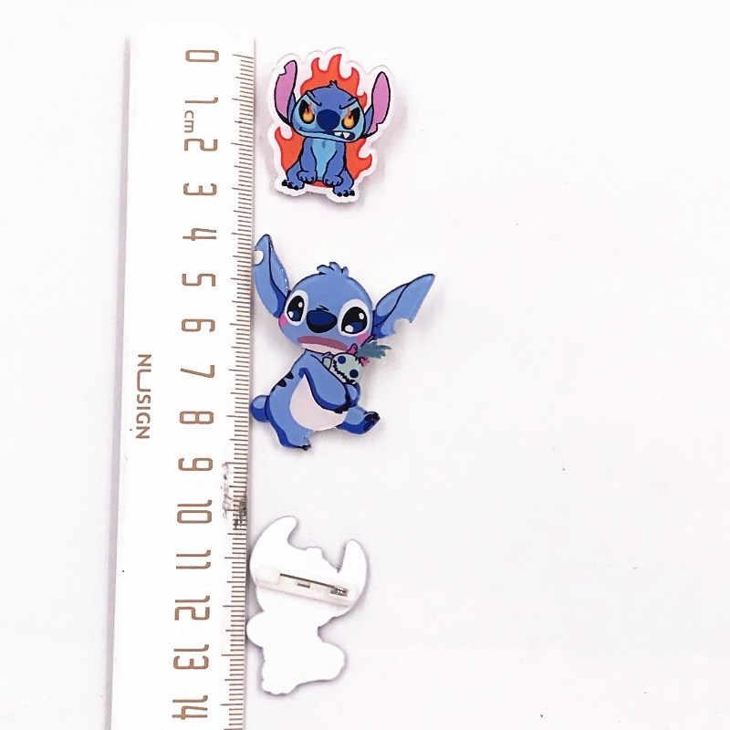 1 個ホット販売リロ & スティッチアニメーション漫画のキャラクターブローチリトルモンスター漫画アクリルバッジ装飾子供のバックパック