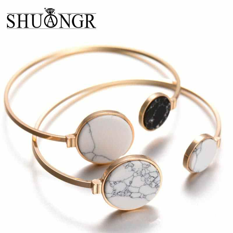 SHUANGR Fashion Gold Plate Black White Geometric Round Open Cuff Punk Bracelet Bangle Faux Marble Stone pulseras from India