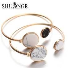 SHUANGR Fashion Gold Plate Black White Geometric Round Open Cuff Punk Bracelet Bangle Faux Marble Stone pulseras from India(China)