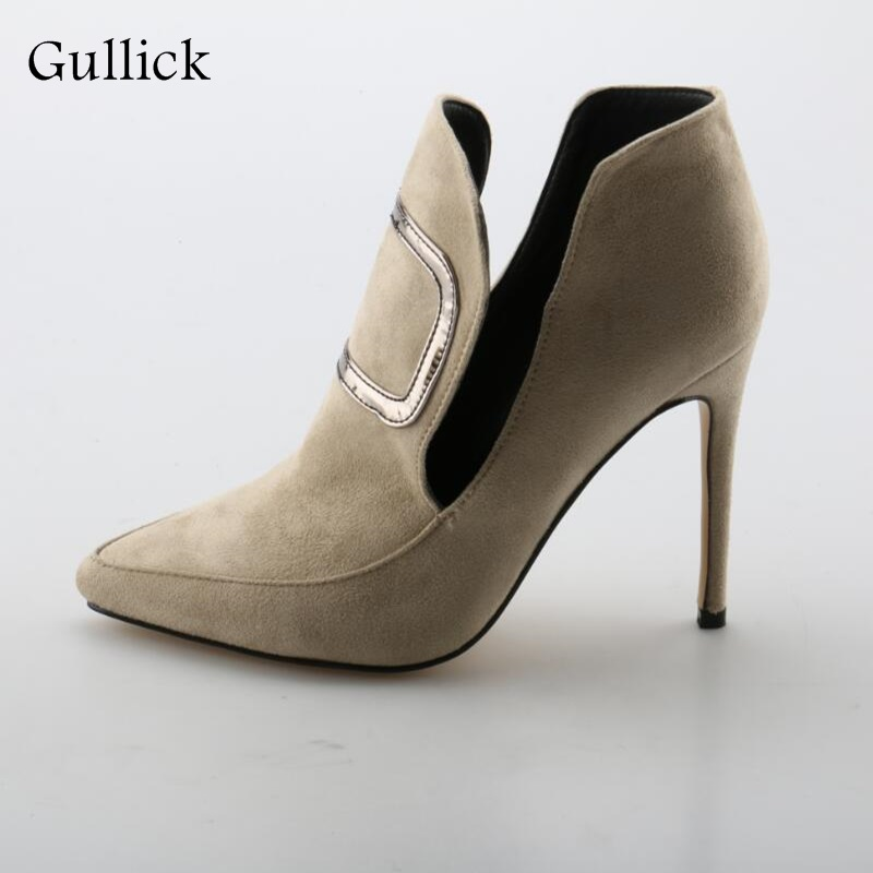 Stylish Flock High Heel Pumps Woman Hot selling Pointed Toe Slip-On Shallow Shoes Apricot Fashion Spring Dress Office Pumps red spring autumn women s low heel pumps flock plain pointed toe shallow slip on ladies casual single shoes zapatos mujer black