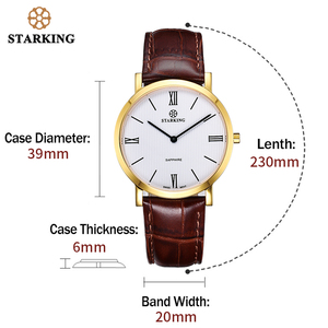 Image 5 - STARKING montre à Quartz noire pour hommes, montre bracelet rétro, en cuir véritable, saphir, pour le Business, 3ATM, haut tendance