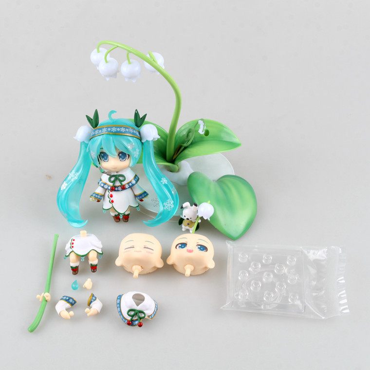 Hatsune Miku Cute Nendoroid Lotus leaf Anime Collectible Action Figure PVC toys for christmas gift with retail box