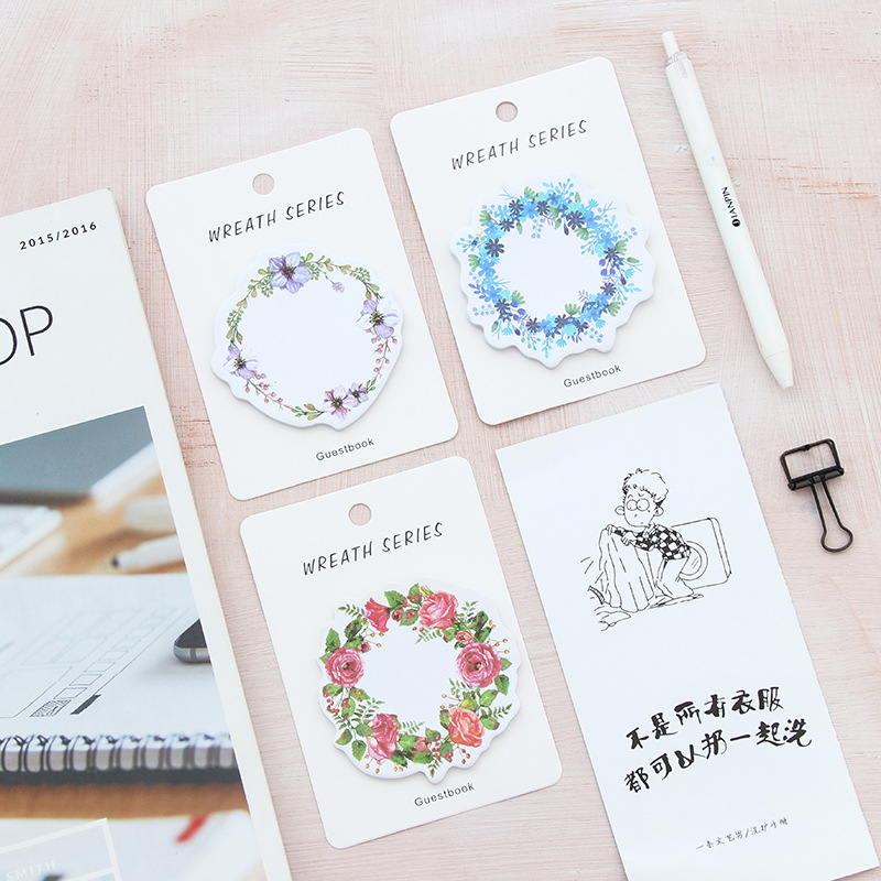1X cute wreath post-it notes weekly plan Sticky Notes Post It Memo Pad stationery School Supplies Planner Stickers Paper BLT56