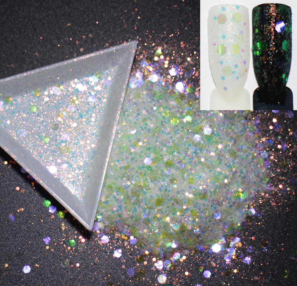 10 г/упак., 8 вариантов! Смешанные гексагоны формы блестки, переливчатая Радуга сияющие цвета ломтик 3D под блески для дизайна ногтей пайетками